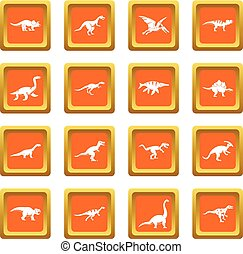 Dinosaur icons set orange