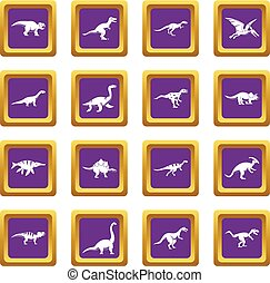 Dinosaur icons set purple