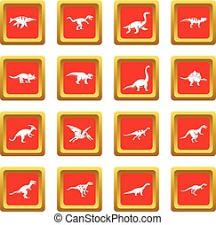 Dinosaur icons set red