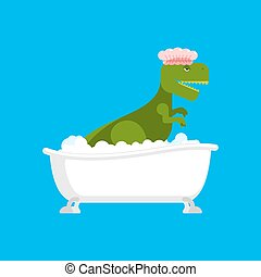 Dinosaur in bath. Dino washes. Ancient Tyrannosaurus Lizard. Big green monster in shower cap. Vector illustration