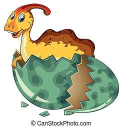 Dinosaur in grey egg