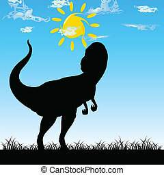 dinosaur in nature art vector illustration