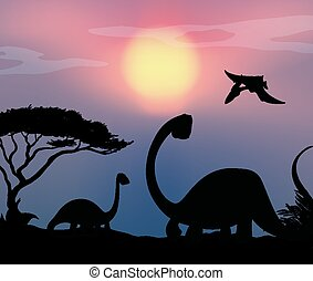 Dinosaur in nature background
