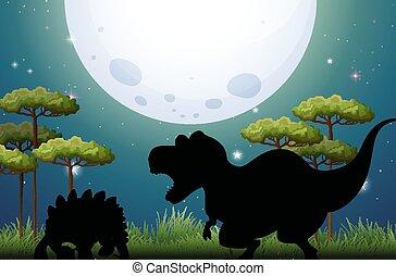 Dinosaur in nature scene silhouette