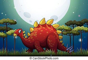 Dinosaur in the field on fullmoon night