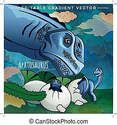 Dinosaur in the habitat. Vector Illustration Of Apatosaur -...