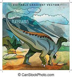 Dinosaur in the habitat. Vector Illustration Of Plateosaur -...