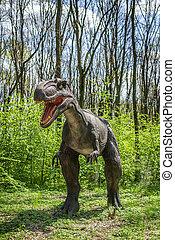 Dinosaur in the jungle.