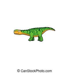 Dinosaur isolated childish brontosaurus green dino
