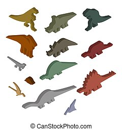 Dinosaur Isometric Set. Ancient animal. Diplodocus and Stegosaurus, Pterosaur. Ankylosaurus and triceratops. Styracosaurus and Iguanodon, Apatosaurus. Tyrannosaur and Panoplosaurus. Pterodactyl and Parasaurolophus. Ceratosaurus and Raptor. Dino prehistoric monster. Beast is Jurassic period. Vector illustration.