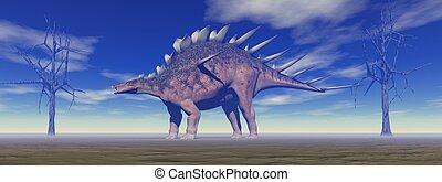 dinosaur kentrosaurus and trees and sky