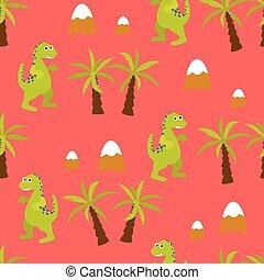 Dinosaur kid seamless vector pattern for textile print.