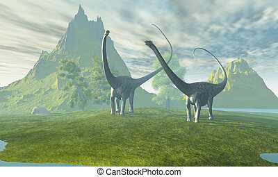 DINOSAUR LAND - Two Diplodocus dinosaurs walk together in...