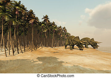 DINOSAUR LIFE - Two Triceratops dinosaurs come down to a...