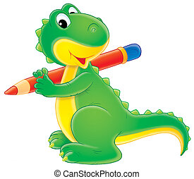 Dinosaur - Little green dinosaur holding a big red pencil