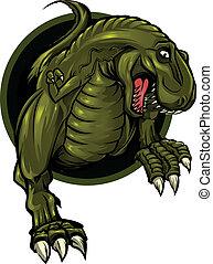 Dinosaur mascot - Roaring T-rex mascot! Separated into...