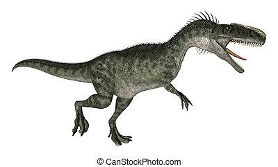 Dinosaur Monolophosaurus - 3D digital render of a running...