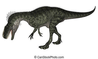 Dinosaur Monolophosaurus - 3D digital render of a walking...