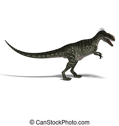 Dinosaur Monolophosaurus - 3D render with clipping path and...