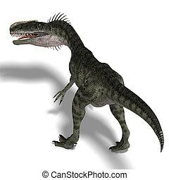 Dinosaur Monolophosaurus - giant jurassic beast. 3D render...