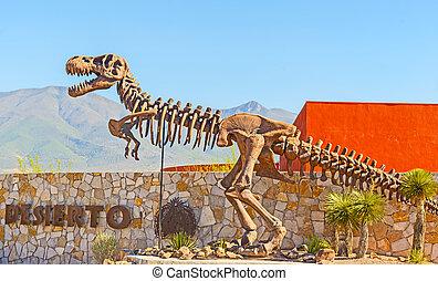 Dinosaur monument in Desert Museum, Saltillo, Mexico -...