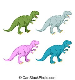 Dinosaur multicolored set. Pink Tyrannosaurus Rex. Blue prehistoric reptile. Ancient predator. Animal Jurassic with big teeth. Aggressive beast. Terrible, angry lizard Polynesian era