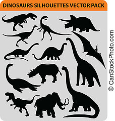 dinosaur pack - vector pack with 13 dinosaur silhouettes