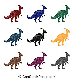 Dinosaur Parasaurolophus icon in black style isolated on white background. Dinosaurs and prehistoric symbol stock vector illustration.