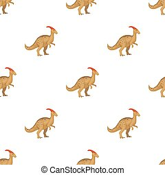 Dinosaur Parasaurolophus icon in cartoon style isolated on white background. Dinosaurs and prehistoric symbol stock vector illustration.