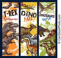 Dinosaur park banner with jurassic animal sketch