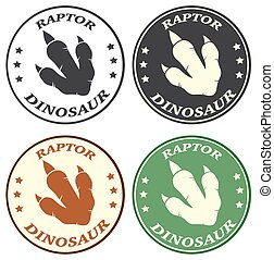 Dinosaur Paw With Claws Circle Logo Design Concept. Collection