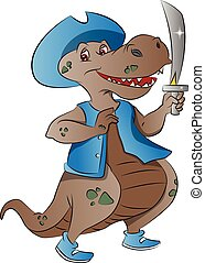 Dinosaur Pirate, illustration