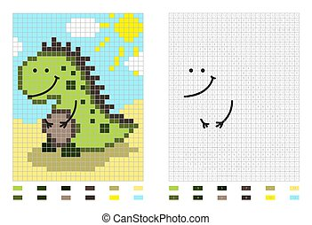 Dinosaur pixel cartoon coloring page by numbers