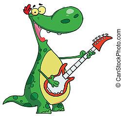 Dinosaur plays a guitar