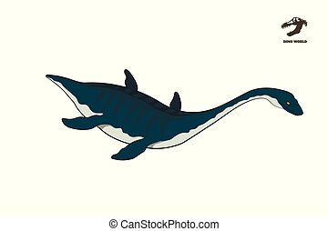 Dinosaur plesiosaur in isometric style. Isolated image of jurassic monster. Cartoon dino 3d icon. Sea reptile