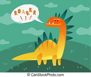 Dinosaur poster. Cute dino funny monsters kids print t-shirt dragon texture happy animal fashion label wallpaper flat vector isolated