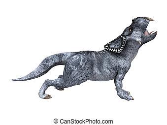 Dinosaur Protoceratops on White