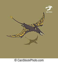 Dinosaur pterodactylus in isometric style. Isolated image of jurassic monster. Cartoon dino 3d icon