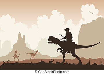 Dinosaur rider - Editable vector illustration of a cowboy...