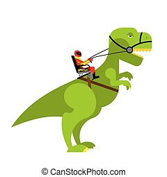 Dinosaur rider. Man sits on back of huge wild Raptor. Teamster dragons. Racer on evil toothy Monster.
