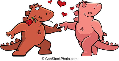 Two happy cartoon dinosaurs in love with each other.