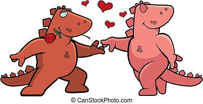Dinosaur Romance - Two happy cartoon dinosaurs in love with ...