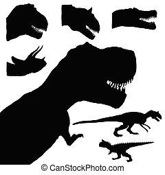 dinosaur set adorable black color animal illustration
