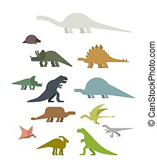 Dinosaur Set. Ancient animal. Diplodocus and Stegosaurus,...