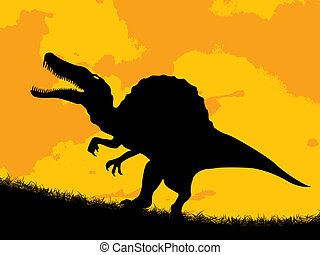 Dinosaur silhouette over a cloudy sunset.