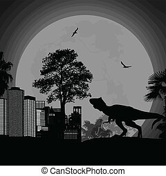 Dinosaur Silhouettes on the night in the city