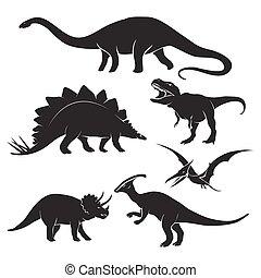 Dinosaur silhouettes - Set of dinosaur silhouettes. ...