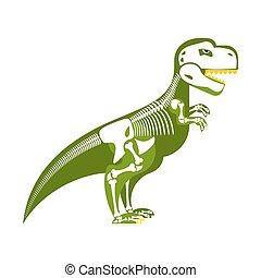 Dinosaur skeleton. Bone up on my body. T-Rex and skull. Tyrannosaurus prehistoric monster predator Raptor