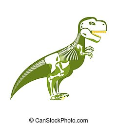 Dinosaur skeleton. Bone up on my body. T-Rex and skull. Tyrannosaurus prehistoric monster predator Raptor