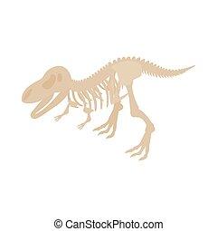 Dinosaur skeleton icon, isometric 3d style